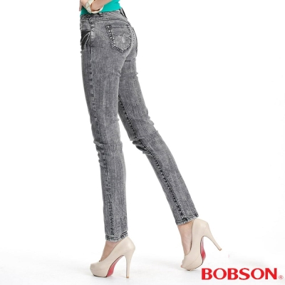 BOBSON 女款30度雪俏小直筒褲(灰黑87)