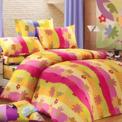 Carolan-花香世界 精梳混紡棉單人床包被套三件組(3.5x6.2尺)