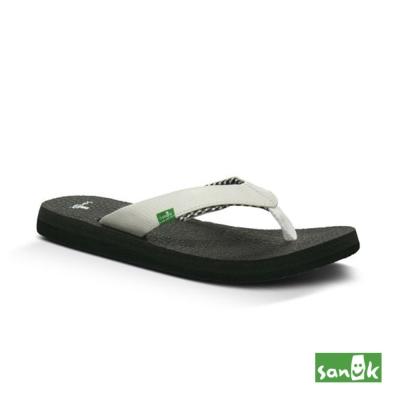 SANUK 瑜珈墊內格紋人字拖鞋-女款(白色)