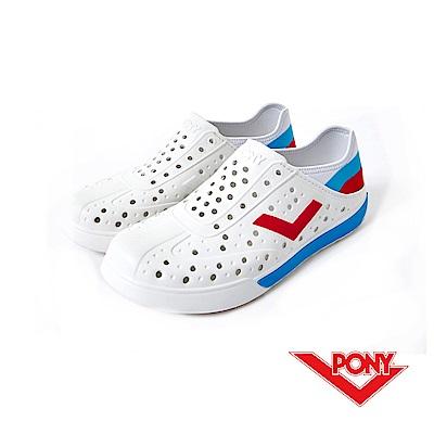 【PONY】ENJOY 系列-輕量透氣洞洞鞋-中性-白/藍(俄羅斯)