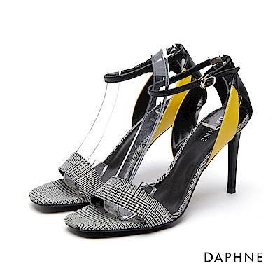 達芙妮DAPHNE 高跟鞋-千鳥格一字拼接繞踝高跟涼鞋-黑