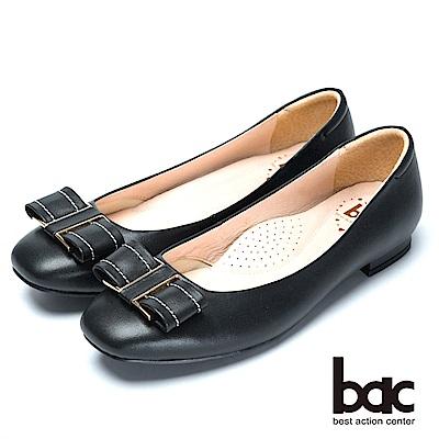 bac舒適真皮經典裝飾真皮低跟鞋-黑