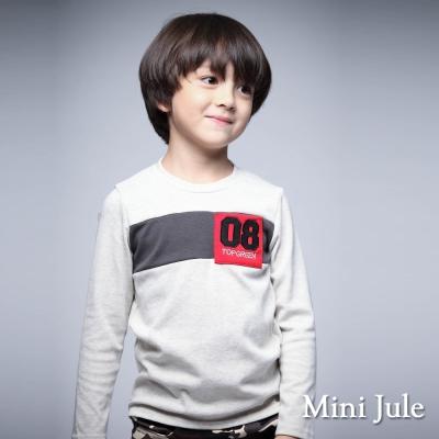 Mini Jule 童裝-上衣 數字8單口袋拼接長袖T恤(杏灰)