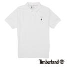 Timberland 男款白色棉質刺繡短袖POLO衫|A1S2N