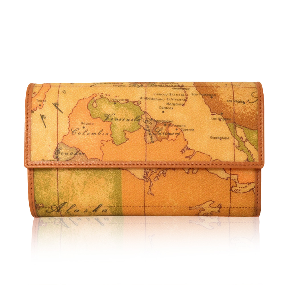 Alviero Martini 義大利地圖包 扣式零錢中長夾-地圖黃