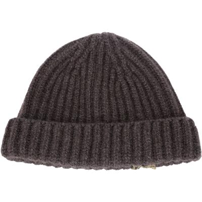 Loro Piana 咖啡色反褶設計喀什米爾針織帽(92%CASHMERE)