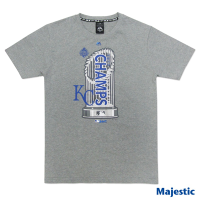 Majestic-堪薩斯皇家隊世界大賽冠軍T恤-麻灰