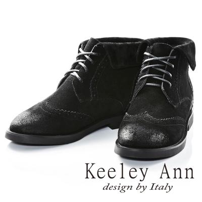 Keeley Ann馬丁小姐帥氣綁帶牛麂皮短靴(黑色)