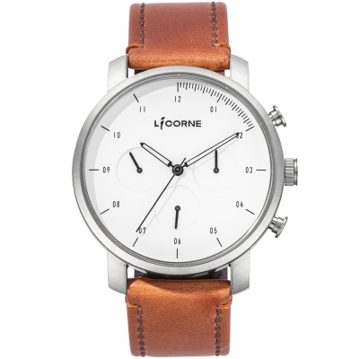 LICORNE MYO系列 精工品味三眼計時手錶-白x棕色 /45mm