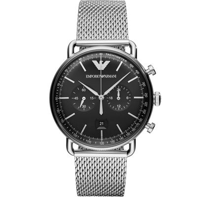 Emporio Armani  復刻時尚計時腕錶(AR11104)黑色/43mm