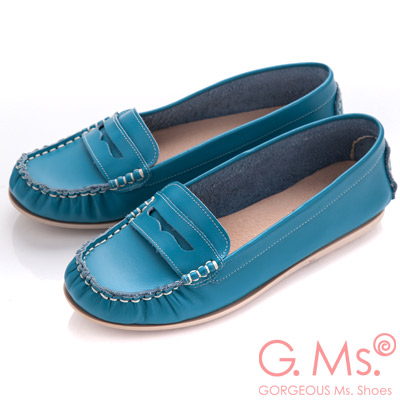 G.Ms. MIT系列-專利水洗皮革手工全真皮樂福鞋-蔚藍
