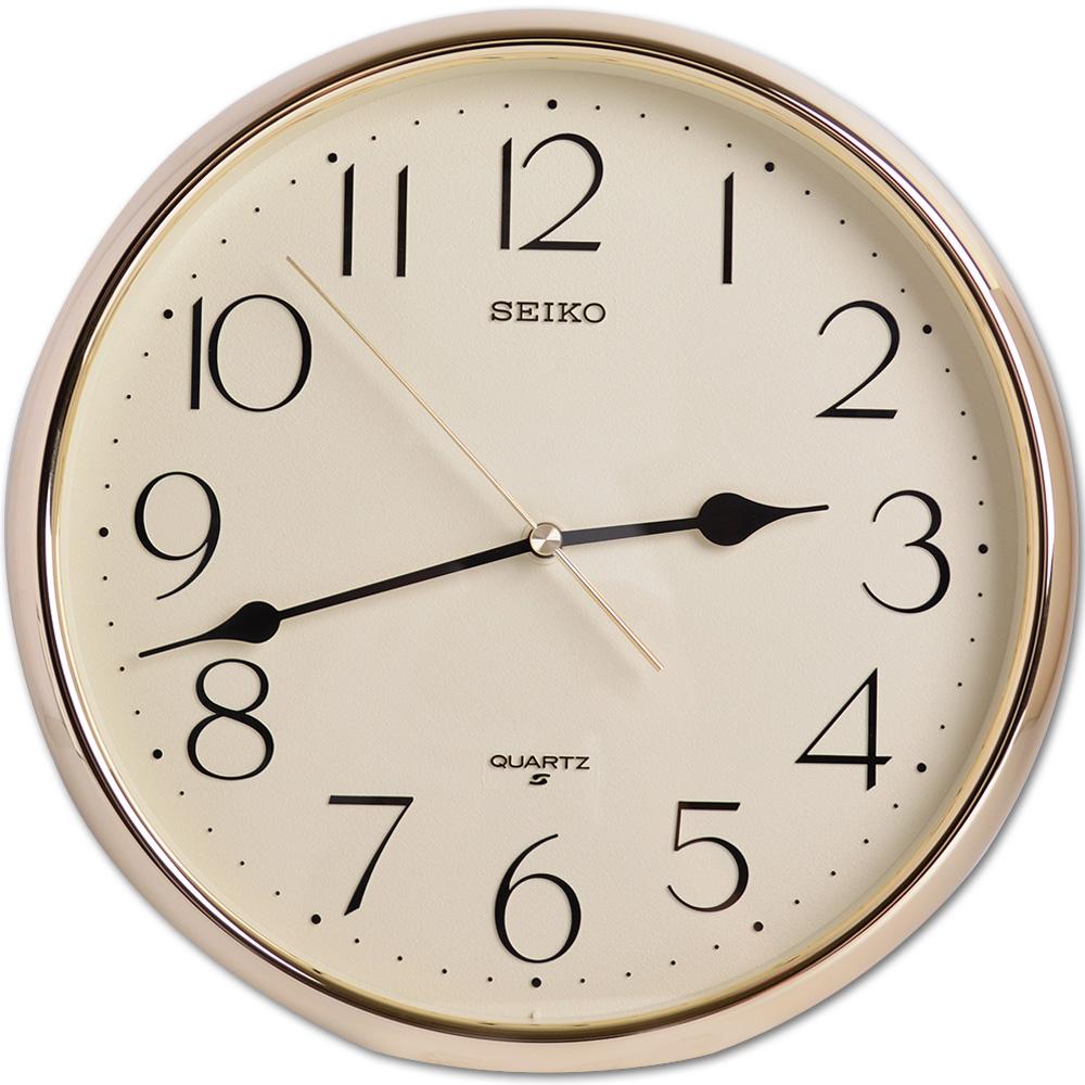 SEIKO 精工 閃耀金色外框 清新數字顯示 時鐘 掛鐘(QXA001G)