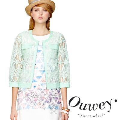 OUWEY歐薇-小香風拉鍊蕾絲外套
