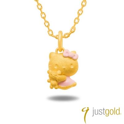 鎮金店Just Gold黃金吊墜 - Hello Kitty粉紅風潮(粉紅玩偶)