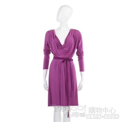 PHILOSOPHY 紫色垂綴領綁腰洋裝