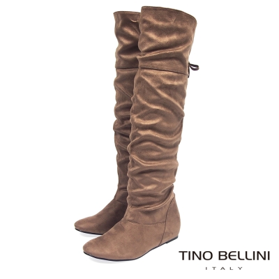 Tino Bellini 自然抓皺後綁帶2穿內增高過膝長靴_駝