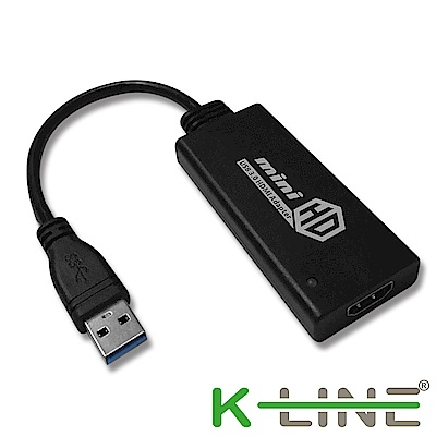 k-Line USB 3 . 0 (公) to HDMI(母) 外接顯示卡(黑)