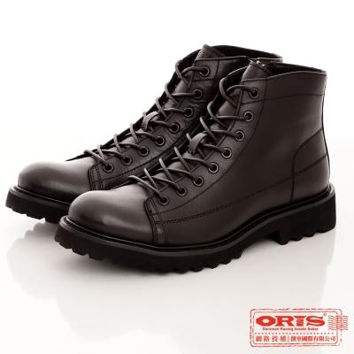 ORIS 男  軍裝風格 真皮中筒軍靴~黑