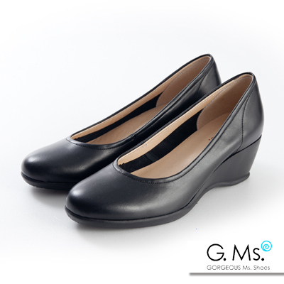 G.Ms. 小資X麻吉-MIT手工全真皮楔型跟鞋-E款