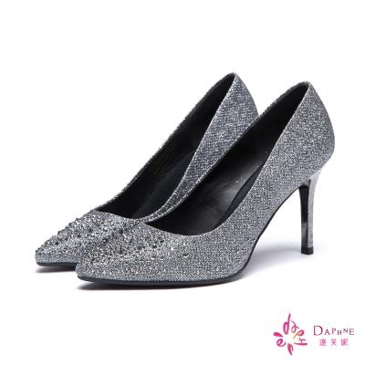 達芙妮DAPHNE 高跟鞋-華麗水鑽金蔥尖頭鞋-錫