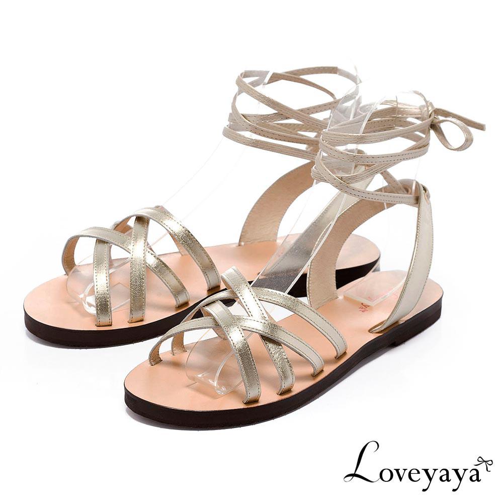Loveyaya - 夏日波希米亞綁帶羅馬涼鞋 - 金
