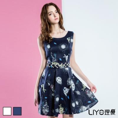 LIYO理優歐風印花後V領洋裝(深藍,米白)