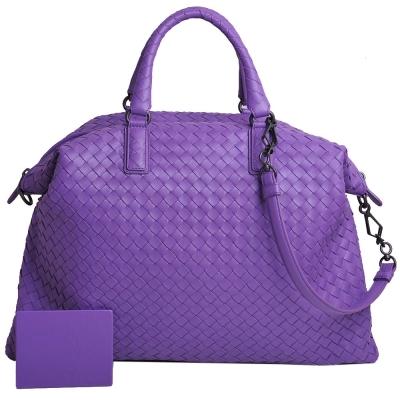 BOTTEGA VENETA 經典小羊皮三用編織手提/側/肩背包(紫羅蘭色)
