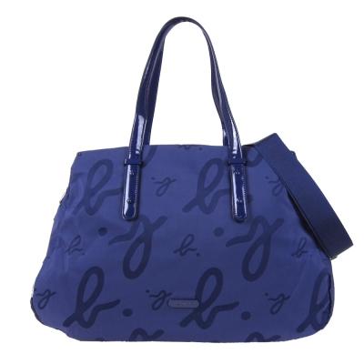 agnes b. 圓標小圓釘尼龍旅行袋(藍)