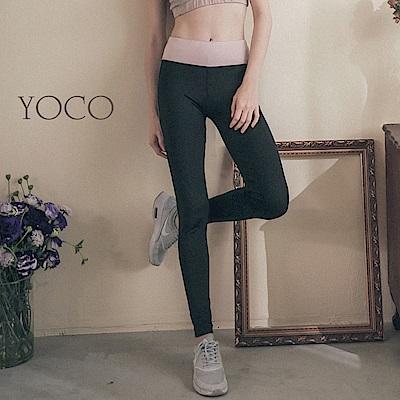 東京著衣-yoco美力女孩-腰頭拼接撞色彈力運動長褲瑜伽褲-(共一色)