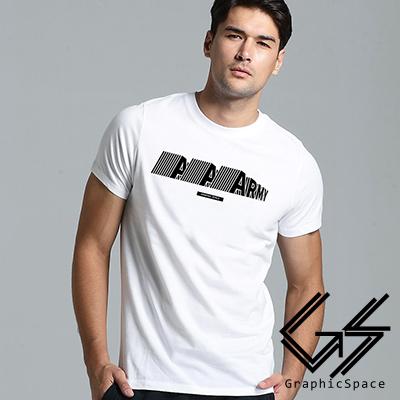 軍隊 變形英文字母磨毛水洗T恤 (白色)-GraphicSpace
