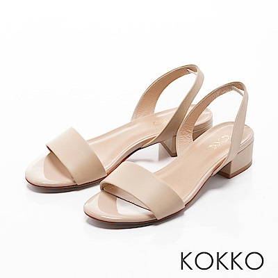 KOKKO-溫柔佳人純色一字粗跟涼鞋-甜美杏