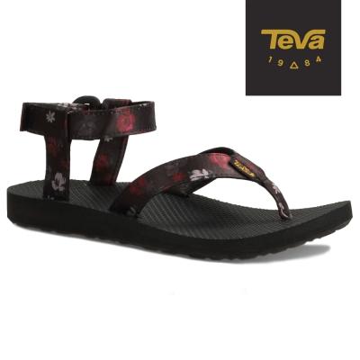 TEVA-美國-Original-女-經典緹花織帶涼鞋-深夜黑