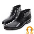 GEORGE 喬治-真皮雙拉鍊短筒紳士靴-黑色
