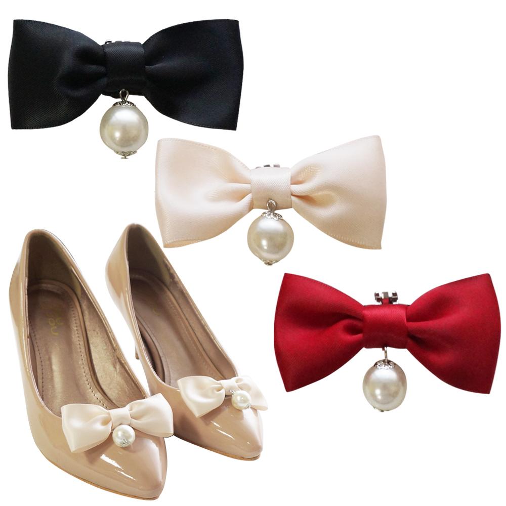 足的美形  經典蝴蝶結珍珠吊墜鞋飾 (2對)