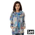 Lee 印花長版連帽薄外套-女-藍