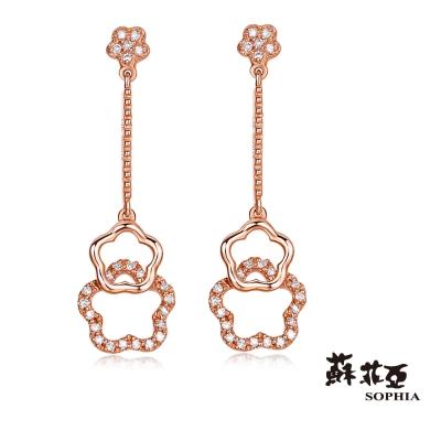 蘇菲亞SOPHIA 鑽石耳環 - 星光熠熠垂墜式玫瑰金鑽石耳環