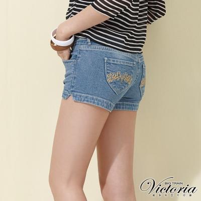 Victoria 低腰繡花牛仔短褲-女-淺藍
