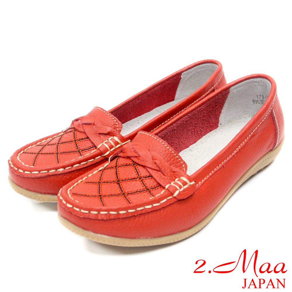 2.Maa 真皮系列-時尚嚴選高質感編織飾扣牛皮樂福鞋-活力紅