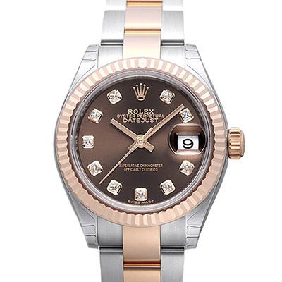 ROLEX 勞力士Datejust 279171蠔式半金10顆鑽日誌型腕錶-巧克力/28m