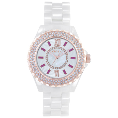 GOTO Elegance時尚晶鑽腕錶-白x粉/39mm
