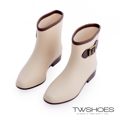 TW Shoes時尚韓版淑女中筒雨靴-米