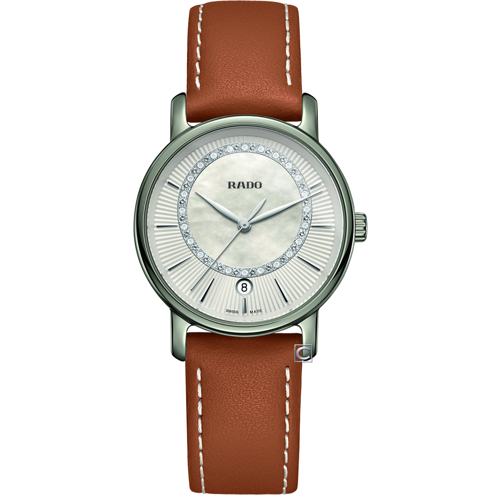 RADO雷達DiaMaster系列偏心環時尚腕錶(R14064945)-33mm/咖啡