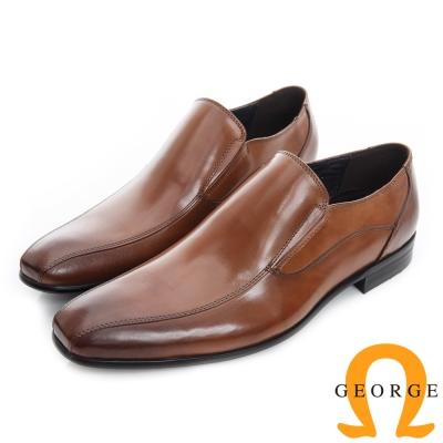 GEORGE 喬治-經典素面真皮小方頭紳士鞋-深棕色
