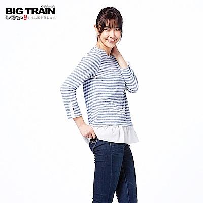 BIG TRAIN 條紋荷葉擺七分袖-女-藍
