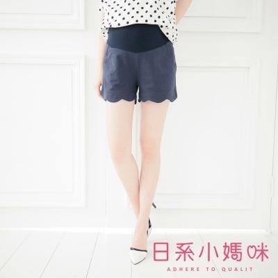 日系小媽咪孕婦裝-孕婦褲~荷葉造型花瓣下擺短褲 L-XXL (共五色)