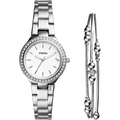 FOSSIL BLANE 美麗女仕晶鑽套錶組-銀/32mm
