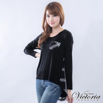 Victoria 格子雪紡拼接TEE-女-黑色