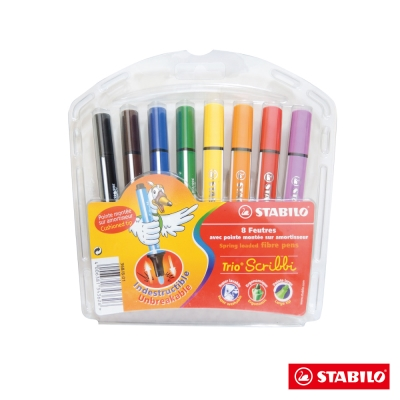 Stabilo 繪畫系 - Trio Scribbi 8色大三角彈性筆頭彩色筆