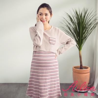 日系小媽咪孕婦裝。台灣製哺乳衣~單口袋拼接橫紋磨毛洋裝(共四色)