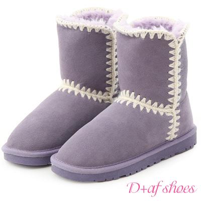 D+AF 好感滿分.毛線針織2way真皮中筒雪靴*紫